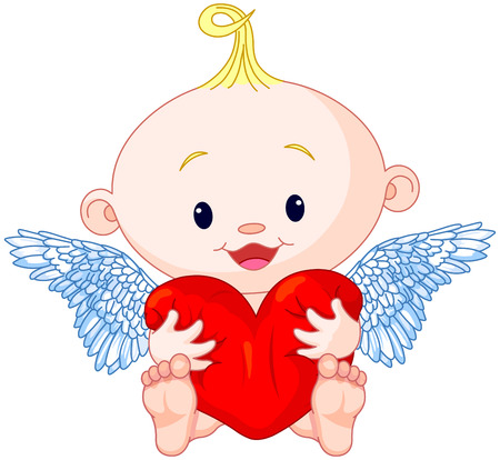 Valentine's Day Cupid holds heart