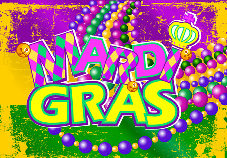 Illustration of Mardi Gras flag