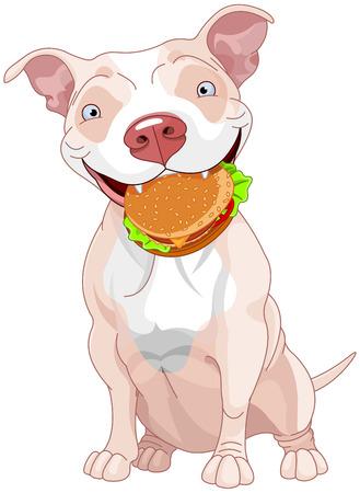 Illustration of Cute Pit Bull Dog Eats Hamburger