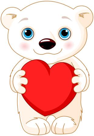 Illustration of very cute polar bear holds a heart Vector