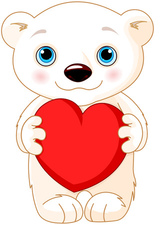 holds: Illustration of very cute polar bear holds a heart Illustration