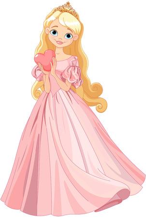 Illustration of beautiful princess holds heart