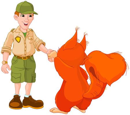 ranger: Illustrazione di ranger del parco sta agitando le mani con scoiattolo