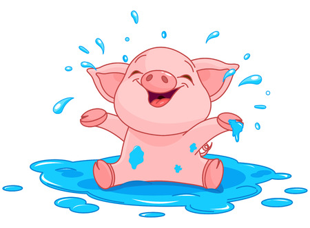 Illustration of very cute piggy in a puddle Vector