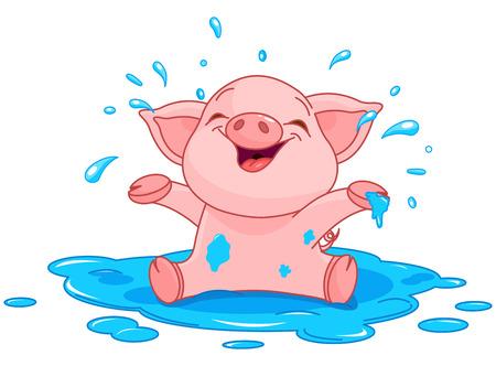 cerdo caricatura: Ilustración de cerdito muy lindo en un charco Vectores