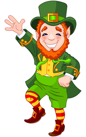 Full length drawing of a leprechaun dancing a jig Ilustracja