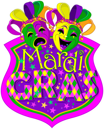Mardi Gras Comedy and Tragedy Masks design, with place for text