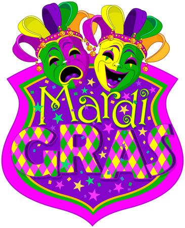 Mardi Gras Komedie en Tragedie maskers ontwerp, met plaats voor tekst
