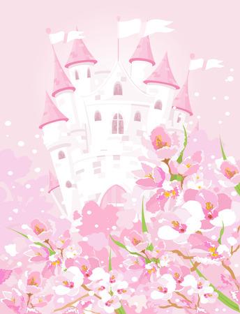 castillos de princesas: Ilustración del castillo de cuento de hadas