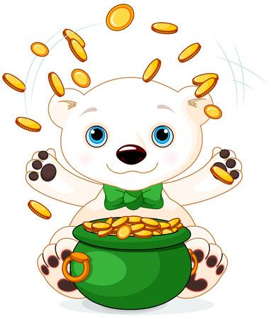 Polar Bear juggles gold coins at Saint Patrick Day Vector