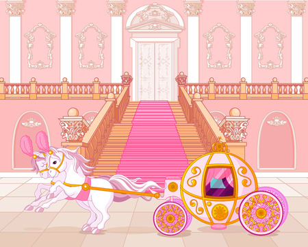 carriage: Bella favola rosa carrozza Vettoriali