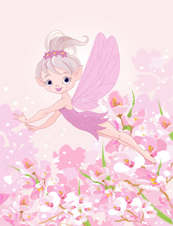 Illustration of cute Pixy fairy flying Illustration