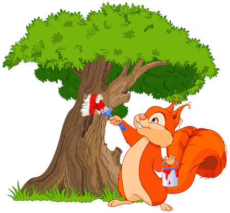 Illustration of cute squirrel paints a tree