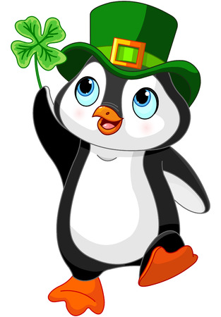 Illustration of Penguin celebrates Saint Patrick Day