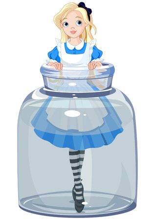 fantasy girl: Alice stands in a transparent jar