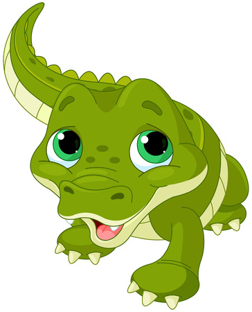 green cute: Illustration of very cute baby alligator