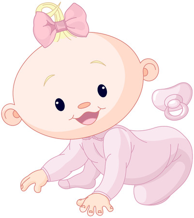 pacifier: Illustration of creeping baby girl
