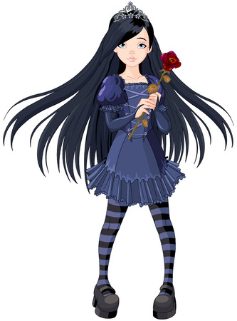 Goth stile girl holding withered rose