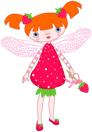 free clip art: Illustration of cute strawberry fairy