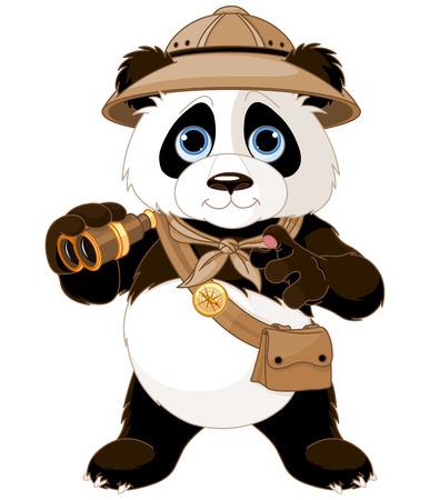 oso caricatura: Panda explorador safari con binoculares