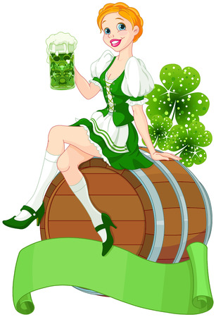 cartoon shamrock: Irish girl sits on the keg and holds mug