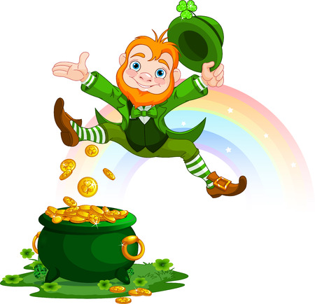 red clover: Illustration of joyful jumping leprechaun Illustration
