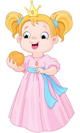 eats: Illustration of cute princess eats hamburger