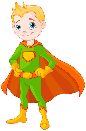 Illustration of very cute super boy Vector