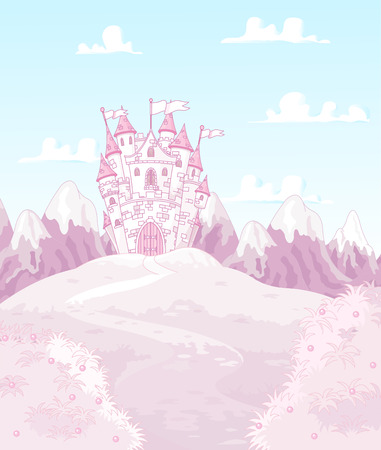 postcard background: Illustration of magic princess castle