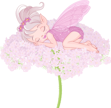 girl sleep: Illustration of cute sleeping Pixy Fairy