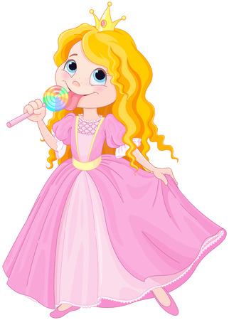 princesa: Ilustraci�n de la princesa linda lame el lollipop