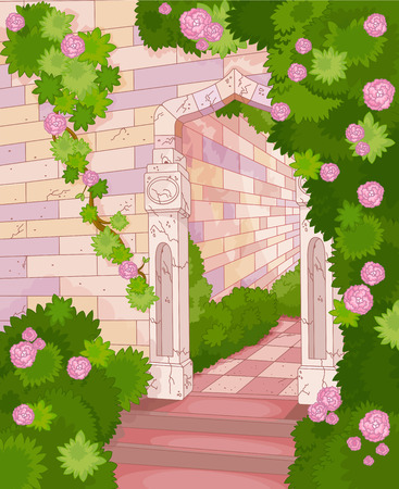 Illustration of overgrown stone house