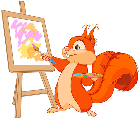 red squirrel: Illustration of cute squirrel draws a picture