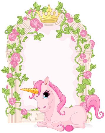 corona de princesa: Marco rom�ntico cuento de hadas floral con unicornio Vectores