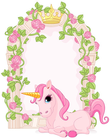 Romantic floral fairy tale frame with unicorn Çizim