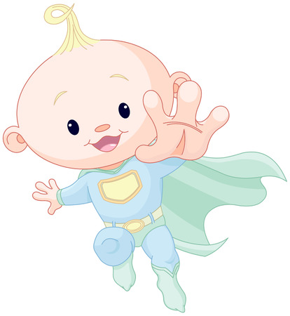 baby: Illustration of very cute super baby boy