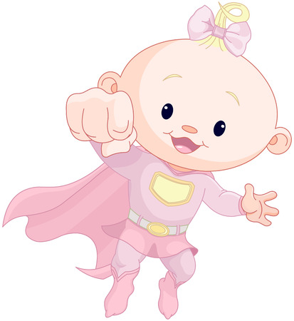Illustration of very cute super baby girl Vector