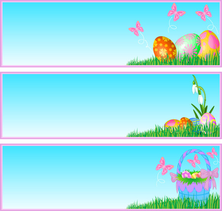 Three banners with Easter eggs and butterflies