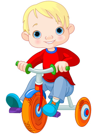 Illustration very cute boy on tricycle Vector