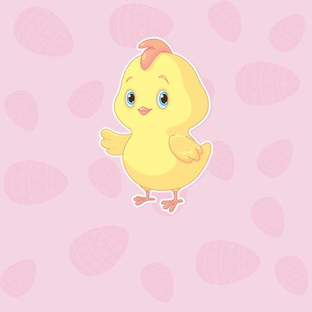 부활절 분홍색 배경에 귀여운 닭 일러스트