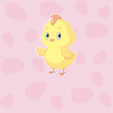 A cute chicken on Easter pink background Çizim