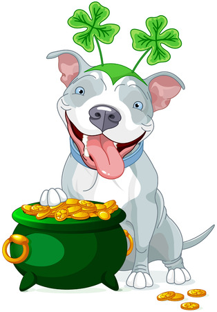 bull dog: Illustration of cute Pit bull celebrates Saint Patrick Day