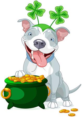 dog days: Ilustración de lindo del pitbull celebra día de San Patricio