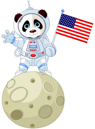 Panda Astronaut on the moon Иллюстрация