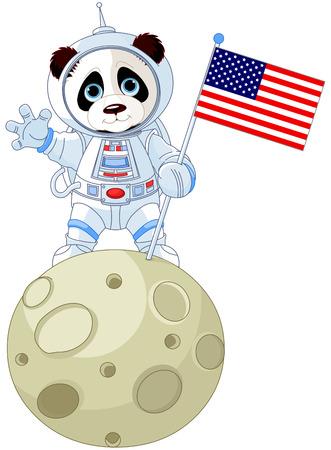 Panda Astronaut on the moon Illustration