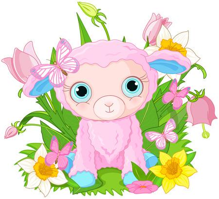 lamb cartoon: Illustration of cute cub sheep sits in bunch of flowers