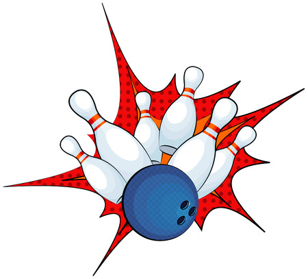 Illustration of a bowling ball strike with falling pins