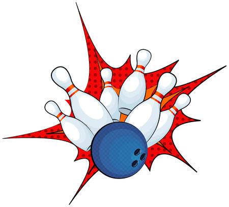 bolos: Ilustración de una huelga bola de boliche con contactos que caen Vectores