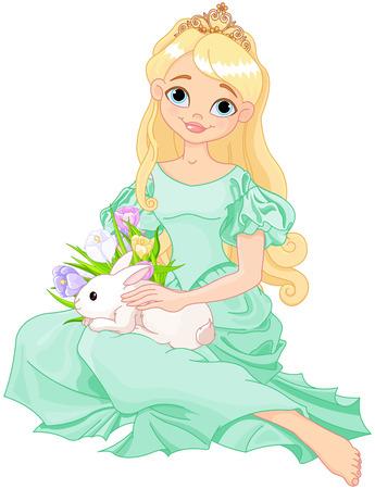 Illustration of beautiful princess holds cute rabbit Çizim