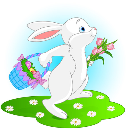 gift basket: Illustration of Easter bunny holds basket of eggs and bouquet of tulips